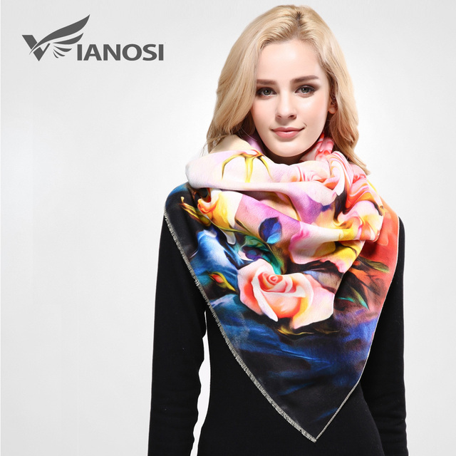 [VIANOSI]  Luxury Winter Scarf Women Digital Printed Female Brand Warm Cashmere Soft Shawl Scarves For Women VA055