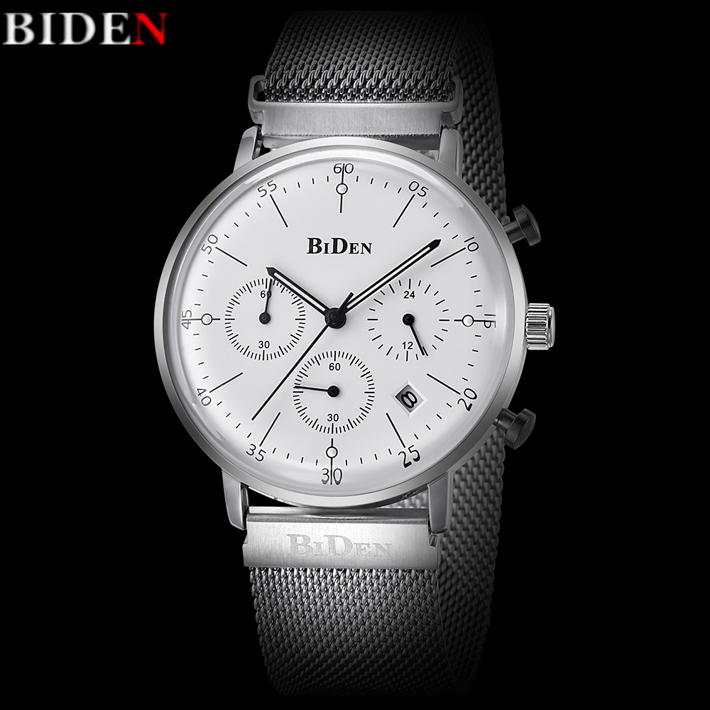 BIDEN Mens Watches Top Brand Luxury Men Military Sport Quartz Watch Stainless Steel Mesh Band Chronograph Clock Men Reloj Hombre luxury brand biden mens watches multi time zone casual quartz wrist watch men mesh stainless steel band relogio masculino