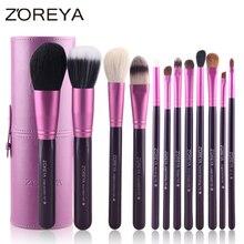 Zoreya Brand Hot Sales 12pcs Natural Goat hair makeup brushes for women Professi