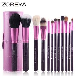 Zoreya Brand Hot Sales 12pcs Natural Goat hair makeup brushes for women Professional Cosmetic tool MakeUp Powder Brush Set