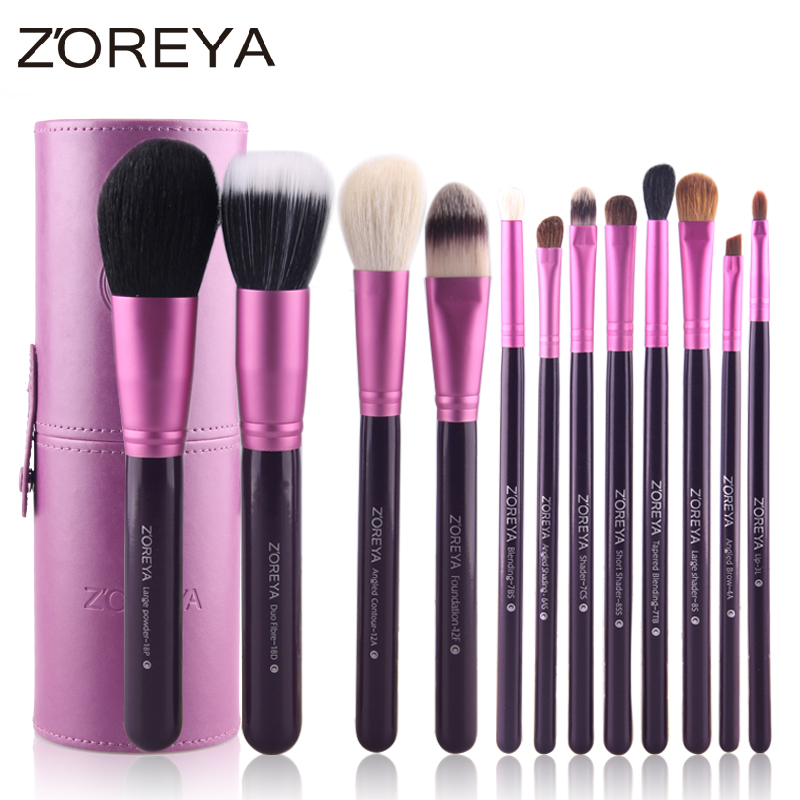 Zoreya Brand Hot Sales 12pcs Natural Goat hair makeup brushes for women Professional Cosmetic tool MakeUp Powder Brush Set