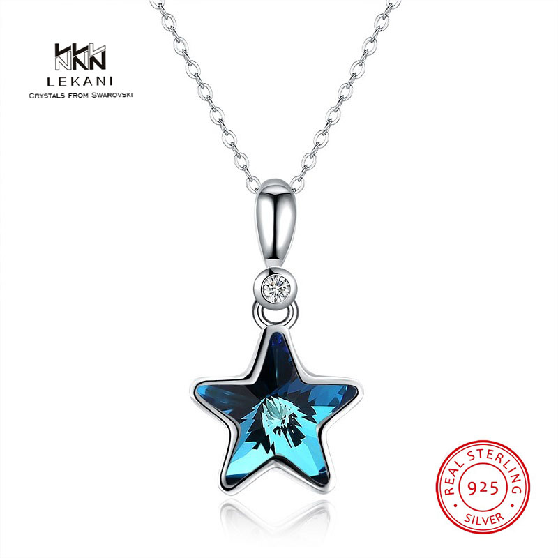 Lekani Crystals From Swarovski Necklace 925 Pentagram Sterling Silver Pendant Necklace Inventive New Women Necklace Ms. Present