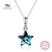LEKANI Crystals From Swarovski Necklace 925 Pentagram sterling silver pendant necklace Creative new ladies Ms. gift
