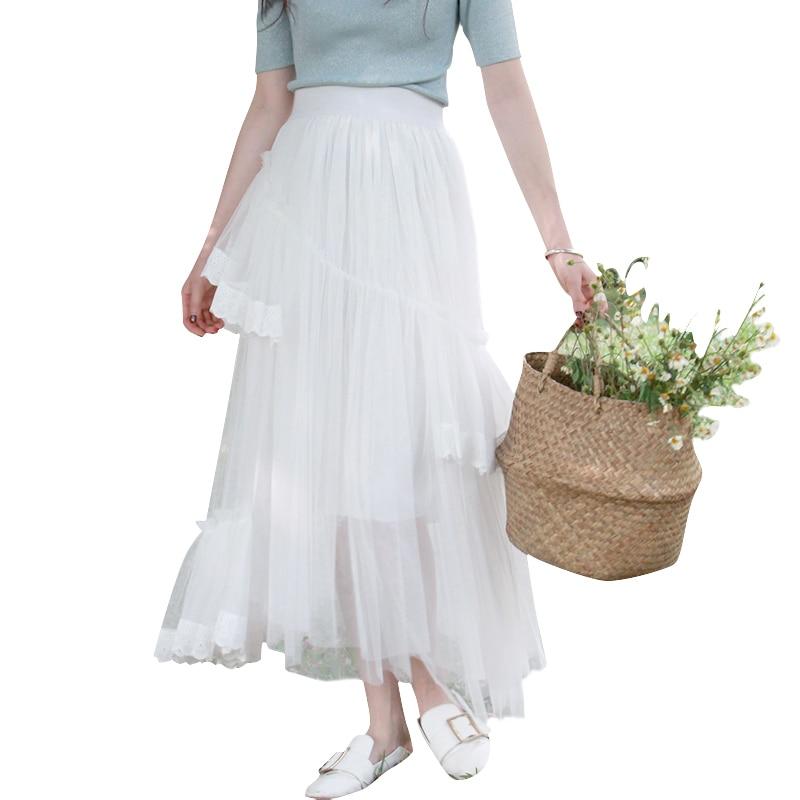 Gratis Encaje Mujeres Blanco Guaze Estilo Faldas De Las Elástico Maxi Moda 2019 Verano Envío Para Nuevo Cintura Falda Asimétrica wgqHwp