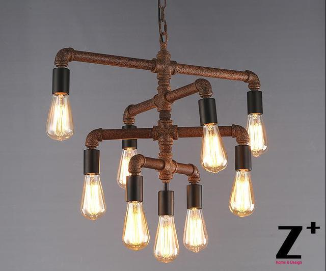 Lights Diy Hand Made Rustic Iron Pipe Vintage 9 Edison Bulbs Chandelier Lamp Suspension Free