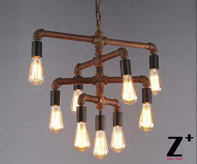 Online shop industrial lights diy hand made rustic iron pipe vintage industrial lights diy hand made rustic iron pipe vintage 9 edison bulbs chandelier lamp suspension free shipping aloadofball Choice Image