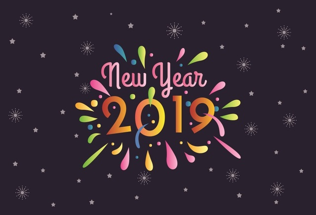 Laeacco Happy New Year 2019 Cartoon Poster Photography Backgrounds