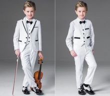White 3 Piece Wedding Groom Tuxedos Flower Boys Children Formal Prom Party Suits pink boys suits groom wedding tuxedos page boy formal prom 2 piece kids suits