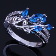 Eye-Catching Plant Blue Cubic Zirconia White CZ 925 Sterling Silver Ring For Women V0436