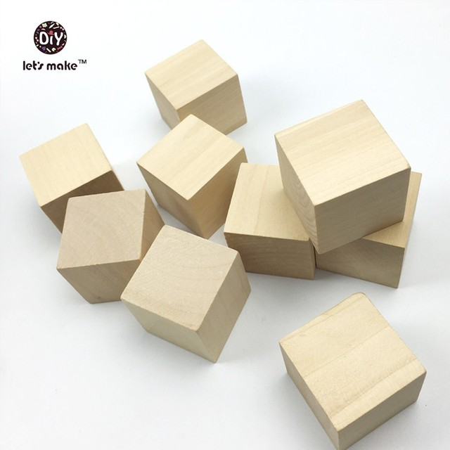 Let\'s Make DIY Wood Cubes 5pcs Personalized Square Solid Wood ...