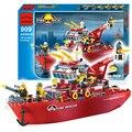 359 pcs 2016 nova estação de resgate fogo navio modelo blocos de construção da cidade de natal brinquedos para crianças compatíveis com lego