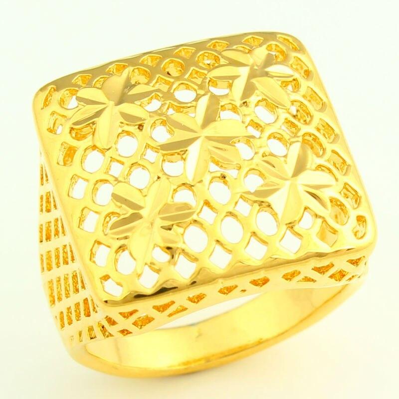 Flowers Gold Ring 24k Gold Color Finger Ring Exquisite Design