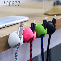!ACCEZZ USB Cable Organizer Wire Winder Earphone Holder Cord Clip Office Desktop Phone Cables Silicone Tie Fixer Wire Management 4