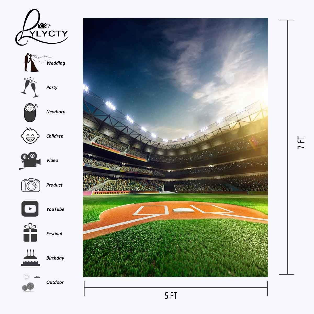 150x220cm Football Field Backdrop Crowded Crowd Sports Series Photography Background