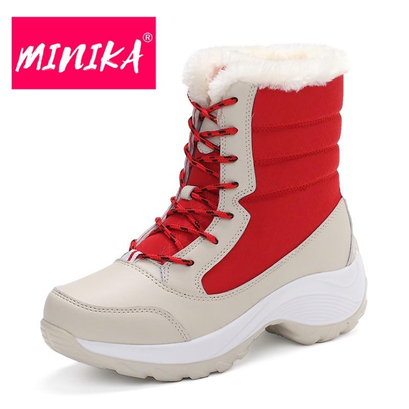 MINIKA Women Ankle Boots Warm Fur Winter Shoes Women Waterproof Snow Boots Round Toe Comfortable Rubber