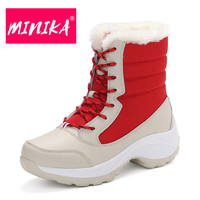 MINIKA Women Ankle Boots Warm Fur Winter Shoes Women Waterproof Snow Boots Round Toe Comfortable Rubber