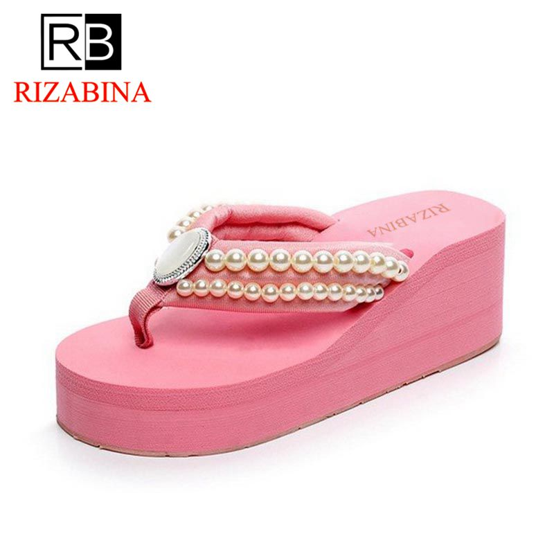 RizaBina Soft Summer Shoes Women Crystal Pearl Sexy Flip Flops Shoes Women Thick Bottom Beach Slippers Women Shoes Size 35-39