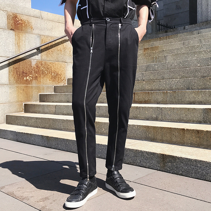 Men's Casual Pants Spring 2020 New Korean Style Bidirectional Zipper Bidirectional Pants  High Quality Runway Men's Trousers