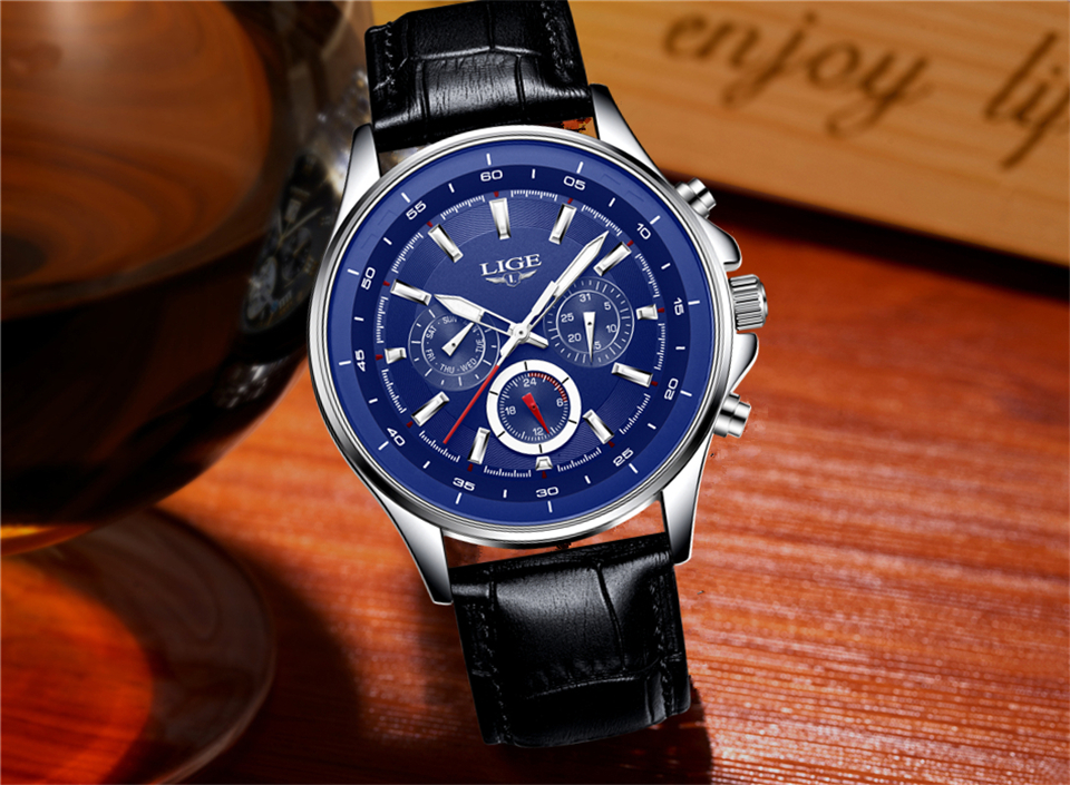 LIGE Mens Watches Waterproof Top Brand Luxury Quartz Watch Men Sport Watch Fashion Casual Military Clock Male Relogio Masculino 22