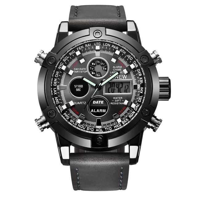 Men's Leather  Quarz Analog Digital LED Sport Wrist Watch