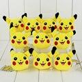 10 unids/lote 8 cm Anime Pikachu Suave Peluche de Juguete de Peluche Brinquedos Kawaii Pikachu Llavero Colgante