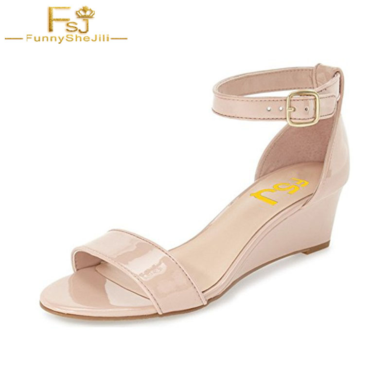 Nude Wedge Sandals Women Shoes Summer 2018 Open Toe Ankle Strap Buckle Shoes Ladies Sandals Flat Black Low Heels Size 11 US FSJ covibesco nude high heels sandals women ankle strap summer dress shoes woman open toe sandals sexy prom wedding shoes large size
