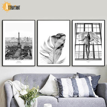 Angel Paris Tower Feather Wall Art Canvas Painting Nordic Poster And Print Wall Pictures For Living Room Scandinavian Home Decor 900d nordic feather canvas art print painting poster flower wall pictures for home decoration wall decor nor37