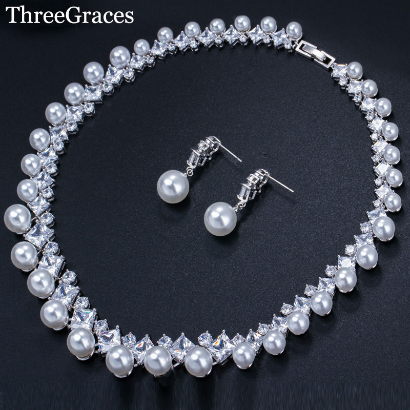 ThreeGraces Brand Luxury Wedding Bridal African Costume Jewelry White CZ Stone Big Choker Pearl Necklace and Earrings Sets JS071