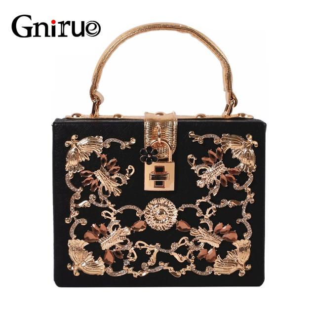 Fashion Flowers Diamond Vintage Evening Bags Luxury Marble Hollow Lock Party Wedding Handbags Elegant Women Shoulder Bags