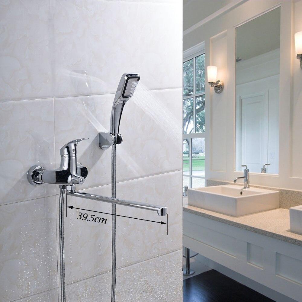 Chrome Finish Bathroom Shower Faucet Sets Solid Brass Single Handle ...