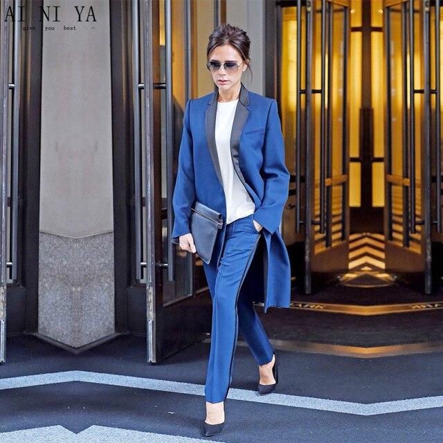 Blue Black Women S Business Suits Formal Office Pant Suits Female