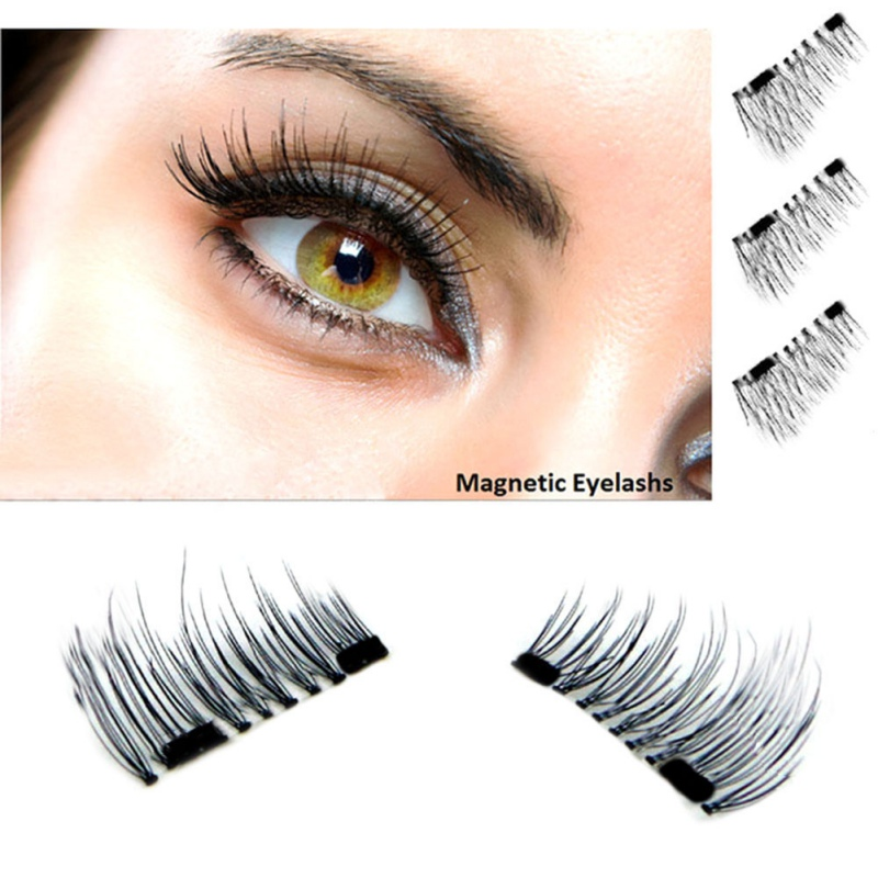 Fashion 3D Magnetic False Eyelashes 4 Pcs 1 Pair Soft Natural Makeup Mink Magnet Fake Eyelashes Natural Eye Lashes Extension