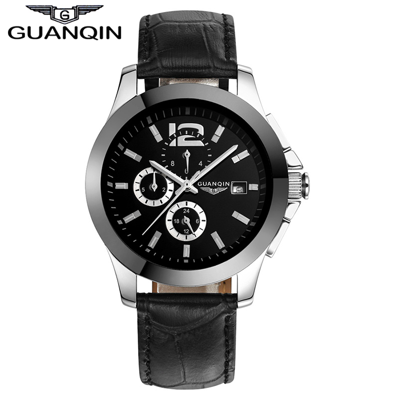 GUANQIN GQ50005 Mens Watches Top Brand Luxury Automatic Mechanical Watch Men 24 Hours Date Clock Ceramic Band Male Wrist Watches 2017 guanqin mechanical watch luxury automatic watch men top brand automatic self wind watches date gold waterproof wristwatch