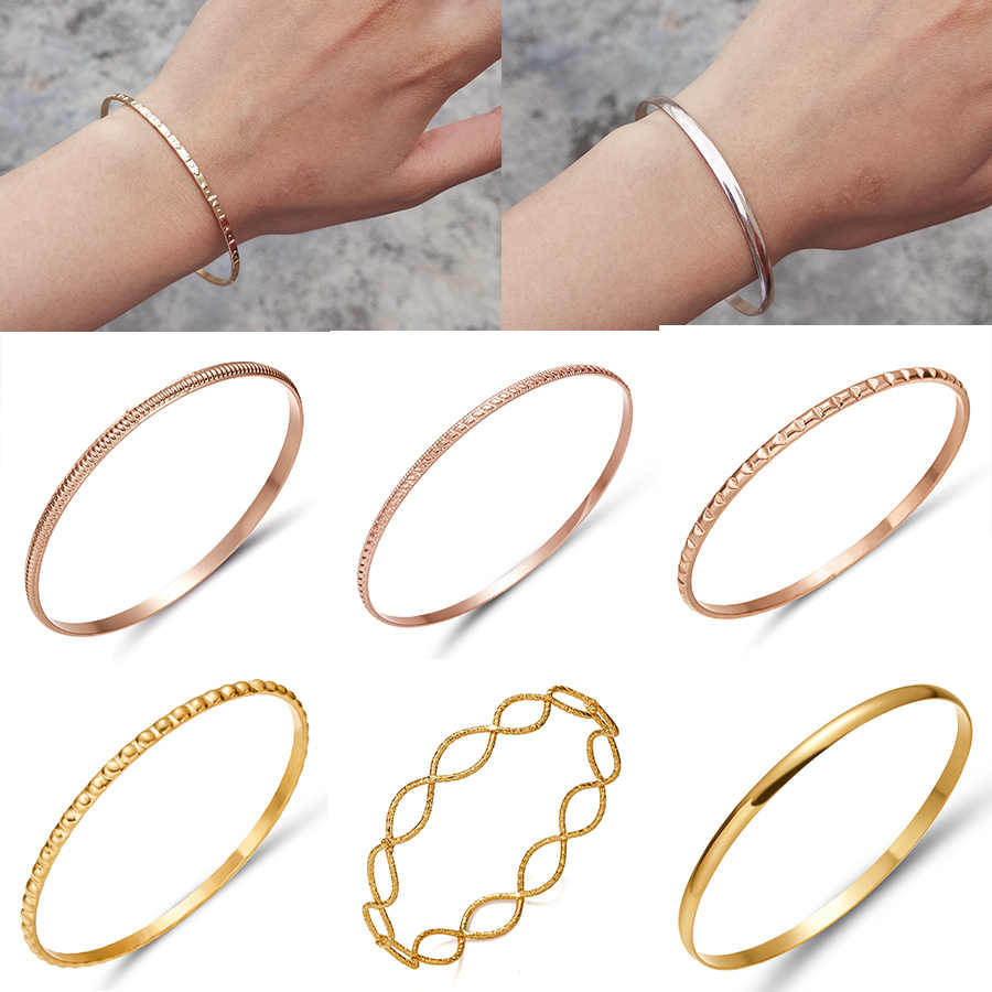 Simple Smooth Round Surface Patchwork Square Hollow Twisted Embossed Bracelet Women Men Rose Gold Bangle Metal Bracelet Jewelry