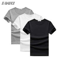 E BAIHUI 2018 NEW Pack of 3 promoting short sleeve t shirt men brand clothing summer solid t shirt male casual tops Tees T009