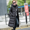 Alta Calidad 2016 Nueva Mujer de la Llegada Abajo Chaqueta Abrigo de Invierno mujer Delgada medio-largo Pato Abajo Parka Con Capucha de Down Jacket Plus tamaño