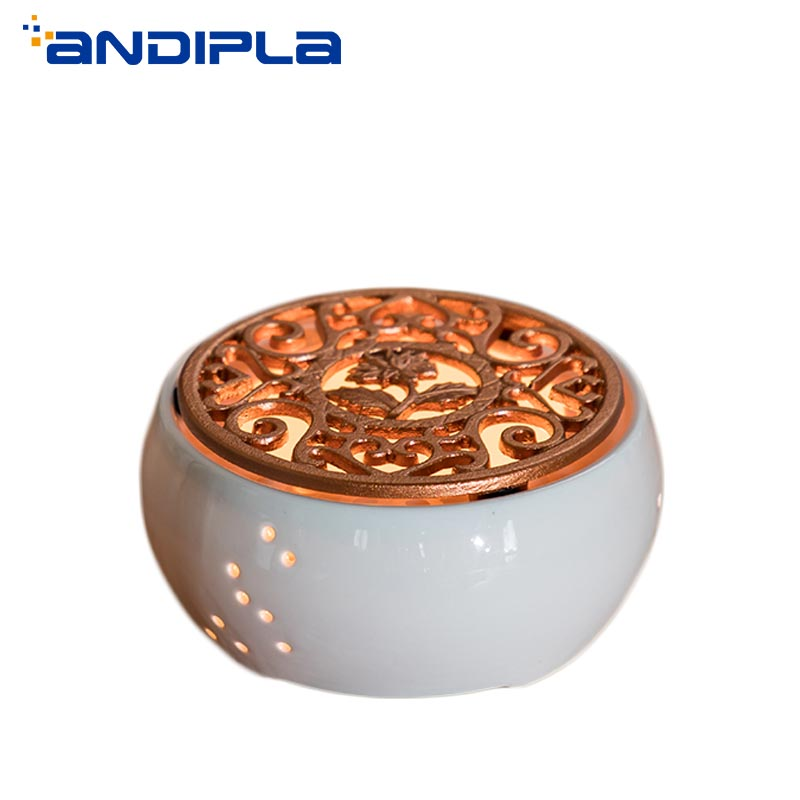 Creative White Ceramic Candle Heater Tea Pot Heating Base Boiled Flower Tea Heated Insulation Base Tea Accessories Coffee Warmer