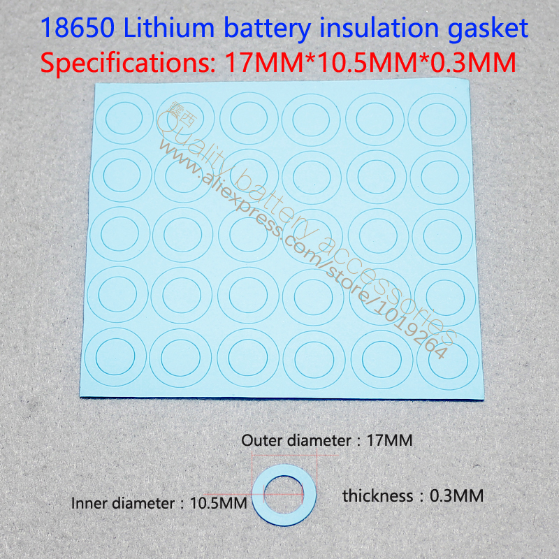 100 pcs/lot 17*10.5*0.3 bleu positif creux surface plate garniture d'isolation joint 18650 dédié lithium-ion batteries