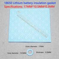100 unids/lote 17*10,5*0,3 azul positivo hueco de superficie plana junta de aislamiento 18650 dedicado de iones de litio baterías