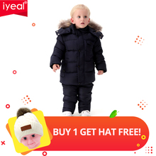 IYEAL Russia Winter Warm Children Clothing Sets for Boys Natural Fur Down Cotton Snow Wear Windproof Ski Suit Kids Baby Clothes все цены