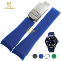 Silicone rubber watchband Watch strap bracelet watch waterproof black blue green soft width 20mm sport wristwatches band