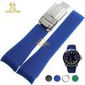Silicone rubber watchband Watch strap bracelet watch waterproof black blue green soft width 20mm sport wristwatches band