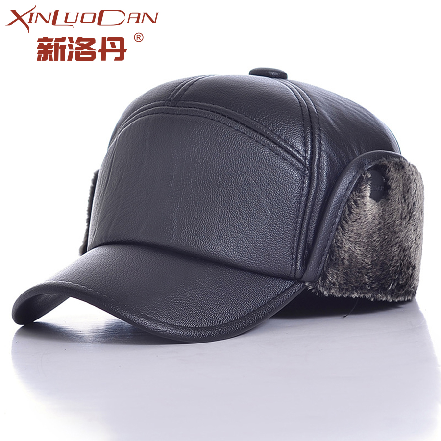 Mens Lamb Leather Russian Fur Hat Dad Hats Winter Soviet Fur Ushanka Trapper Hat Unisex Bomber Pilot Cap For Men WH133 children s fur hat rex rabbit fur scarves leather boys and girls universal warm winter cold cap hat teen hats
