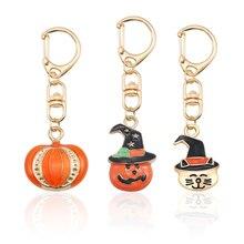 Halloween Pumpkin Keychain Jewelry Simple Men and Women Metal Cute Animal Cat Christmas Gift Decoration