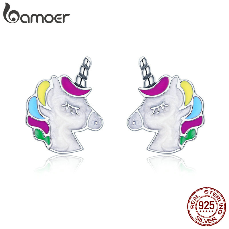 BAMOER High Quality 100% 925 Sterling Silver Colorful Unicorn Memory Stud Earrings for Women Sterling Silver Jewelry Gift SCE393