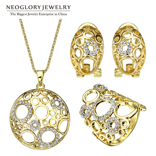 Neoglory Austria Rhinestone Fashion Romantic Elegant Engagement Wedding Bridal Jewelry Sets For Women 2017 New G1