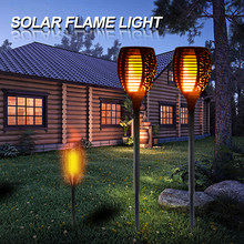 LED Solar Lamp Tiki Torch Light Garden Waterproof Outdoor Courtyard Lawn Lamps Dancing Flame Flickering 96LEDs Decorative Lights(China)