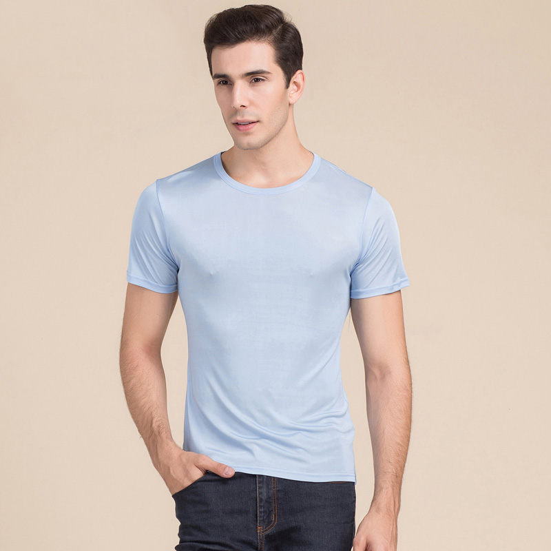 Herren basic t shirt 100% naturseide feste hemd kurzarm top Herren - Herrenbekleidung - Foto 2