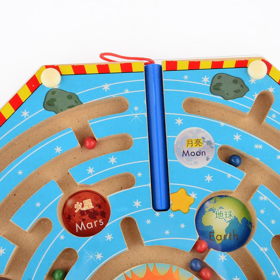 UTOYSLAND magneter pussel labyrint barn träleksaker nio planeter - Spel och pussel - Foto 3