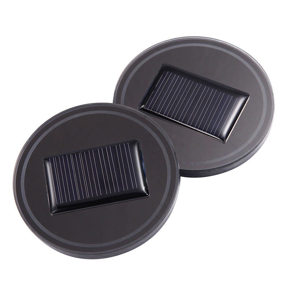 Portable 2 Pcs Solar Car Cup Holder With LED Light Bottom Mat Pad Cover font b